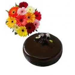 Dark Chocolate Cake With Gerbera Hand Bunch