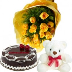 Yellow Roses Cake Teddy