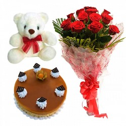 Cake Flowers & Teddy Bear