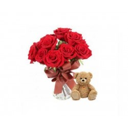 Rose Bunch With Teddy