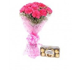 10-Carnations Hand Bunch And Chocolate Box