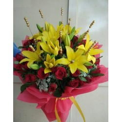 Yellow Lily With Red Roses