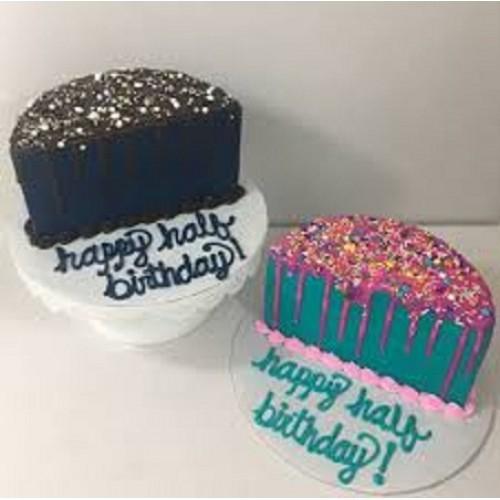 Astonishing 2 Half Birthday Cake Personalised Birthday Cards Paralily Jamesorg